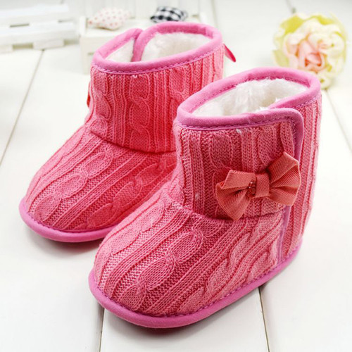 Winter Toddler Fleece Snow Boot Baby Shoes Infant Knitted Bowknot Crib Shoes Baby Warm Shoes Red Gray Pink Baby Booties