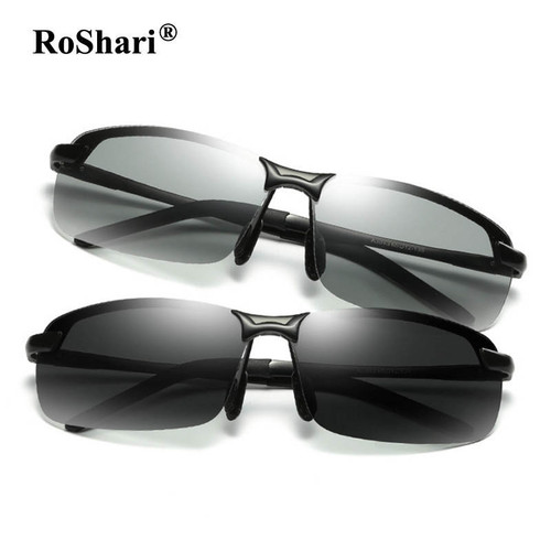 RoShari Driving Photochromic Sunglasses Men Polarized Chameleon Discoloration Sun glasses for men