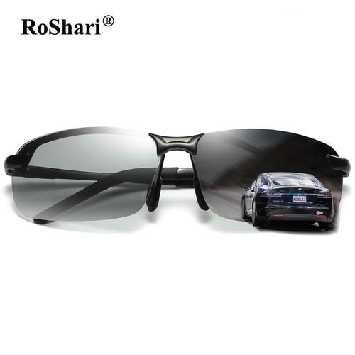 RoShari Driving Photochromic Sunglasses Men Polarized Chameleon Discoloration Sun glasses for men oculos de sol masculino P3043