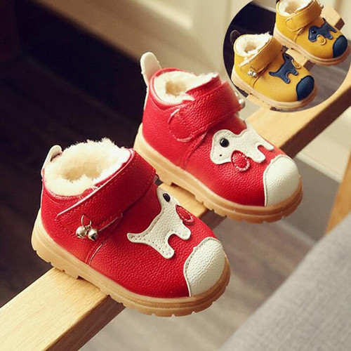 Children Snow Boots Plush Infant Baby Toddler Shoes Soft Sole Girls/Boys Ankle Boots with Cartoon Dog New Style Sonwshoes A10074