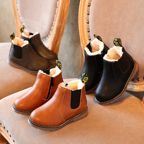 Hot SALE Children Boots Boys Shoes Winter New Plush Warm Leather Fashion Girls Martin Boots Boys Gentleman Soft Shoes Size 21-30