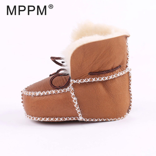 FUR123 Winter Baby First Walkers Infants Warm Shoes Real Sheepskin Girls baby Booties Leather Boy Baby Boots