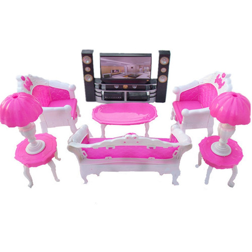 (Jimusuhutu) Doll Accessories Mini Furniture Super Combination Pretend Play Living Room HiFi-TV Toys for Barbie Dolls Girl Gift