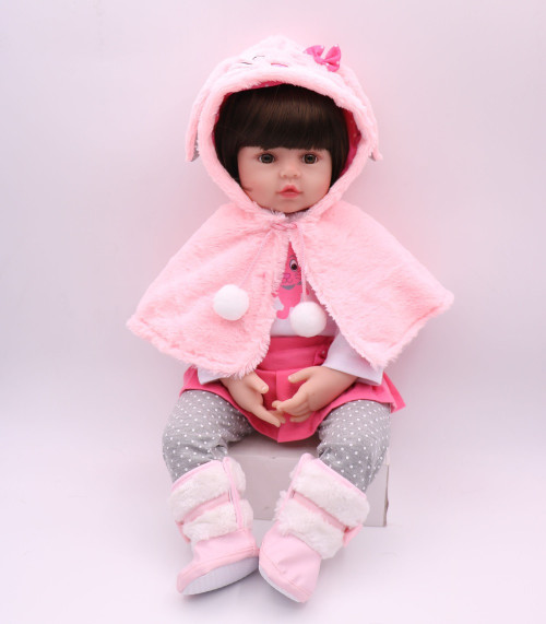 NPK DOLL Reborn Baby Lifelike 17 inch Girl Pink Princess Winter Coat Christmas Gift Plush Toys Kids Playmate Babe Boneca Cute