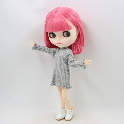 Factory blyth doll bjd joint body white skin faceplate matte face BL2476 short pink hair 30cm, girl gift