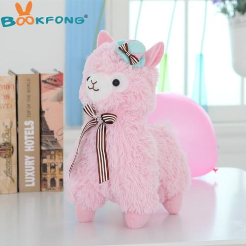 BOOKFONG 35cm Alpacasso Mud Horse Topper Hat Alpaca Plush Toy Lovely Stuffed Animal Sheep Kids Doll Birthday Gift