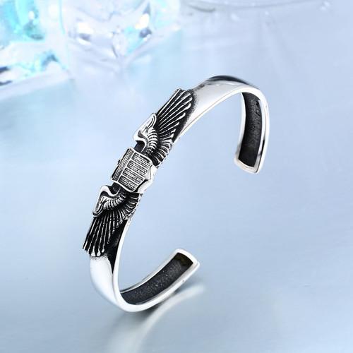 Beier stainless steel bracelet Vintage Opening Wings badge Fashion Bangle Jewelry BRG-007