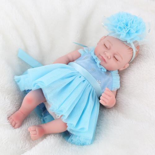 NPKDOLL Mini Reborn Baby Doll Lifelike silicone Bath toys for girls Sleeping girl doll for newborn kids Christmas Gift 10 inch
