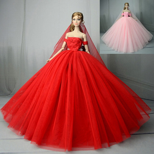 Wedding Dress For Girl Doll Princess Evening Party Clothes Wears Long Dress Outfit Set For Girl Doll With Veil