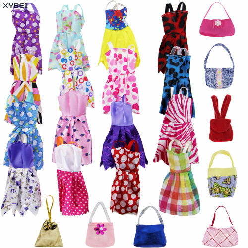 27 Pcs/Lot = Random 12x Handmade Dress Princess Mini Gown + 5x Mixed Style Casual Bags + 10x Shoes Clothes For Barbie Doll Gift