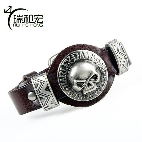 Genuine Leather Bangle Alloy Skull Bracelet Street Fashion Adjustable Belt Buckle Bracelets & Bangles Men's Rock Jewelry