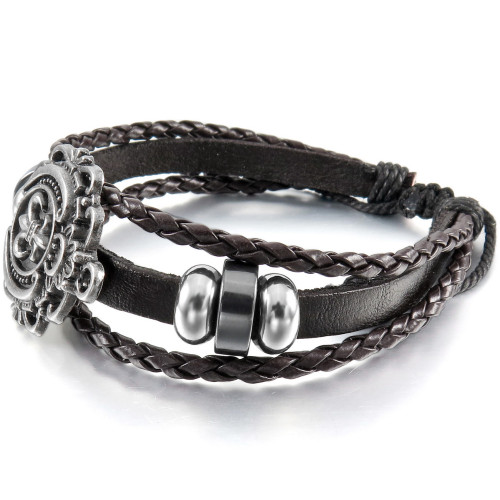 Men Women Alloy Genuine Leather Bracelet Bangle Brown Silver Tone Knight Fleur De Lis Surfer Wrap Trib free shipping