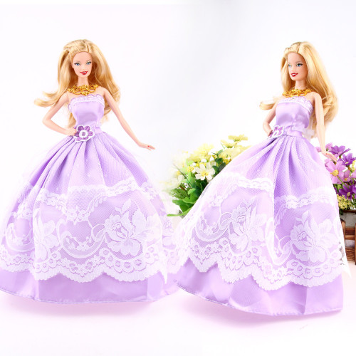5 Pcs High Quality Fashion Handmade Clothes Dresses Grows Outfit for Doll dress for girls Random Types and Colors Ship