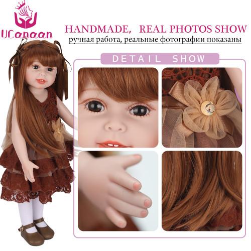 UCanaan Doll 45 cm/18 Inch Girls Dolls Handmade Soft Plastic Reborn Baby Toys Girl Dolls for Kid's Gifts diy doll toys