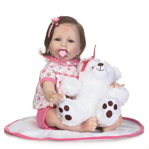 NPK 55cm soft Silicone Reborn Girl Baby Doll Toys 22inch Newborn Princess Toddler Babies Dolls Toys for girl Play House Toy Doll