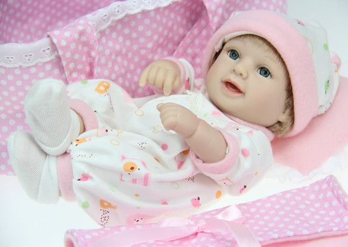 28cm Silicone Baby Reborn Dolls Baby Shower Toys Laugh Baby Dolls Pink Girl Brinquedos Toys Kid Gifts Baby Sleeping Cradle Dolls