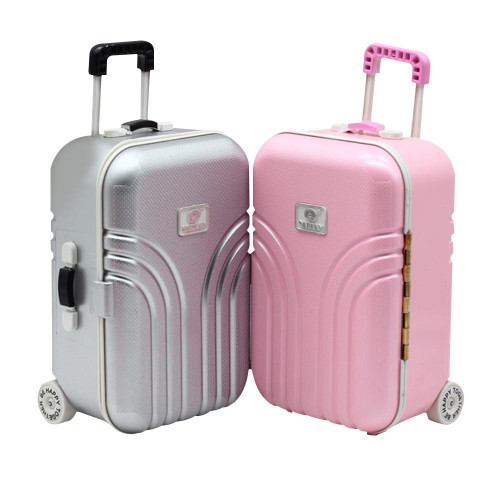 "18"" American Doll Toy Trunk New Travel Set Suitcase For 18 Inch American  Doll Accessories Gift Pink & Silver for girl"