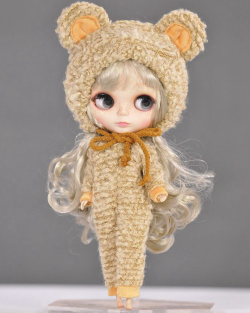 Cute Blyth Doll Clothes Bear Suit With Hat For Blyth Doll Accessories fit (Blyth,Pullip,Azone, Licca ,1/6 doll)