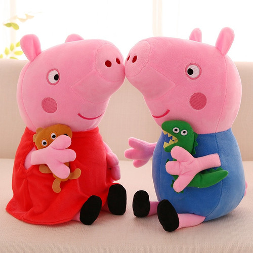 4Pcs/set Peppa Pig George 19cm Family friends Plush Toys Soft Stuffed Cartoon Animal Doll for Children's gift