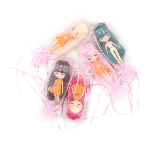Mini Blyth nude doll 10CM different hair color with random dress with bangs normal body DIY fashion toys