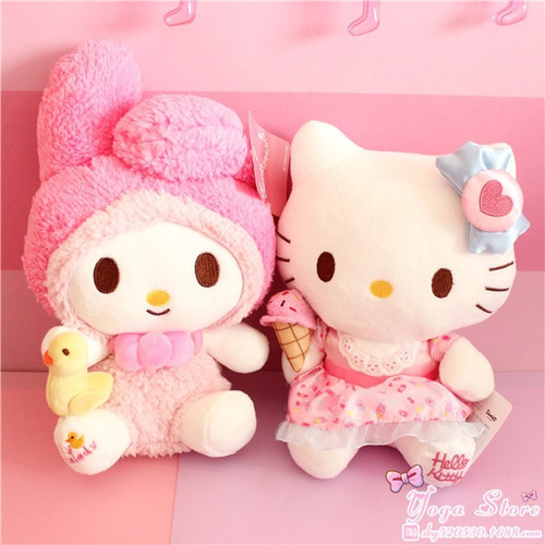 Kawaii Japanese Pink My melody Hello Kitty Plush Toy Cute Cats Soft Stuffed Animals Doll Baby Kids Toys For Children Girls Gifts