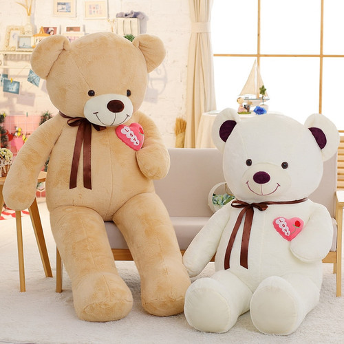 1PC 75/90/110cm Large Teddy Bear Plush Toy Lovely Huge Stuffed Soft Bear Wear Bowknot Bear Kids Toy Birthday Gift For Girlfriend