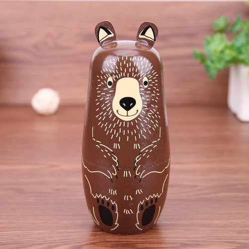 5pcs Bear Ear Russian Matryoshka Dolls Handmade Basswood Nesting Dolls Set  Matryoshka Dolls Toys Home Decor Toys