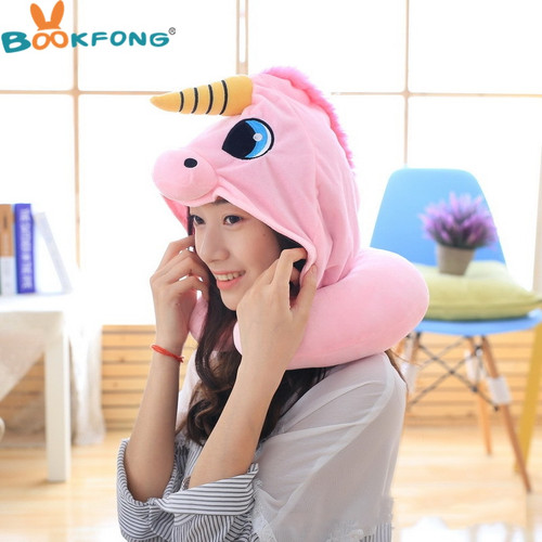Cartoon Unicorn Plush Toy Soft Stuffed Animal Cushion Travel Pillow Car Airplane Soft Nursing Cushion with Hat Plush Toys
