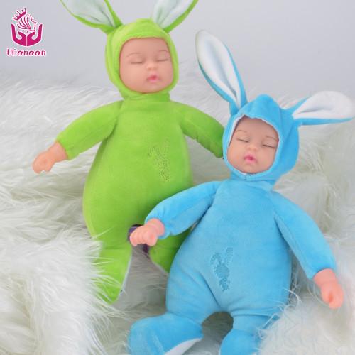 UCanaan Sleeping Rabbit Plush Toys For Children Simulated Babies Sleeping Dolls Kids Toys Birthday Gift For Girls Doll Reborn