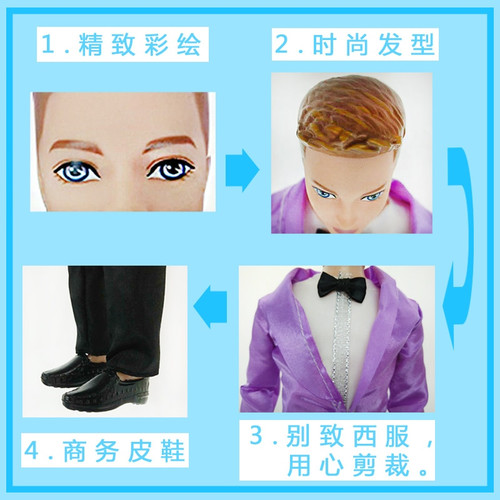 2018 New Boy Doll with 11 joint moveable / Doll + Suit + shoes / boyfriend for Barbie Boy Bridegroom OB Ken Doll Gift Toy