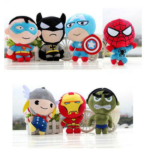 20CM Super Heroes Plush ToysThe Avengers Thor Spider-man Captain America Iron Man The Hulk Batman Lovely Children's toy Dolls