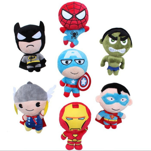 20CM Super Heroes Plush ToysThe Avengers Thor Spider-man Captain America Iron Man The Hulk Batman Lovely Children's toy Dolls