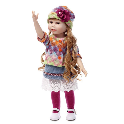 NPK NEW 45CM Realistic Girl Doll Looking American  Princess Baby Dolls 18 Inch Safe silicone Girl Dolls for Kids Gift