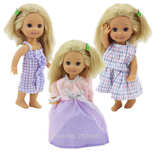 Random 5 Sets/Lot Cute Mixed Mini Dress Wedding Party Gown Clothes For Barbie Sister Kelly Doll Dollhouse Accessories Gift Toy