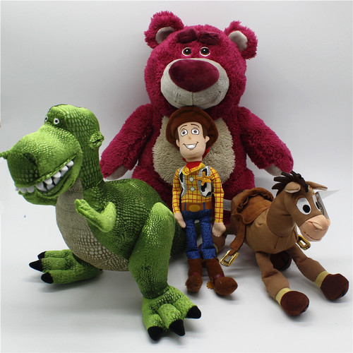 1pcs Original Toy Story woody Lotso Strawberry Bear Bullseye Alien Rex dinosaur Stuffed Super Soft Toys Children Brinquedos