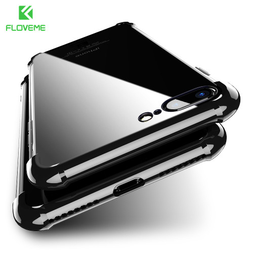 FLOVEME Plating Anti-Knock 360 Case for iPhone 8 7 8 plus Case for iPhone 7 6s 6 7 plus Full Coverage Protector Back Cover Capa