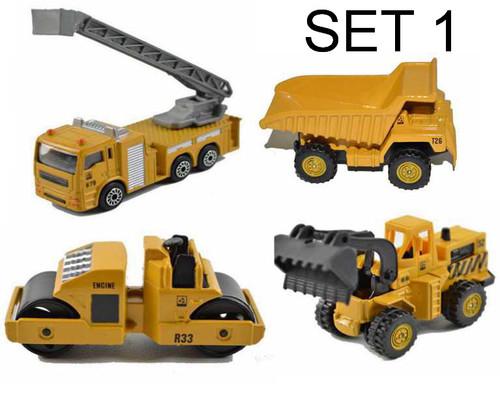 4pcs Mini Metal Alloy Diecasts & Toy Vehicles Crane Hoist Lift Road Roller Grab Excavator Truck Dumper Construction Vehicles