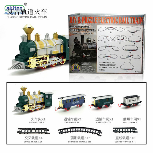 akitoo 1085 Electric simulation vintage rail car Smoke musical train model children's educational toy Christmas birthdsy gift