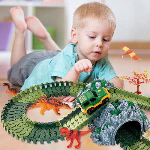 2018 New Magical track Set DIY Flex Racing track funny Dinosaur Jurassic Park  Creative Gift Educational toys for children D30
