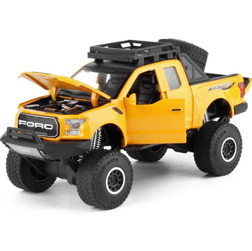New 1:32 Ford Raptor F150 Pickup Truck Metal Toy Cars Model With Music Flashing Sound For Boys Birthday Gifts Free Shipping