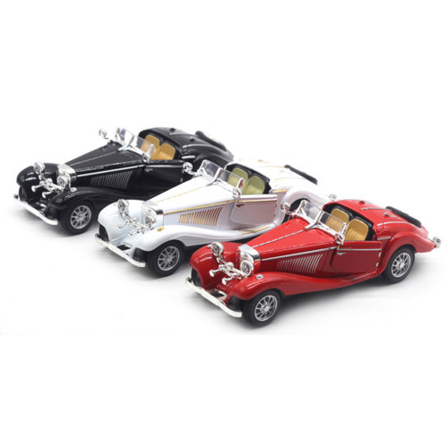 1:28 Mercedes Benz 500K Classical Roadster Car Alloy Model Acousto-optical Pull-back Display Stand Pull Back Toy Car for Child