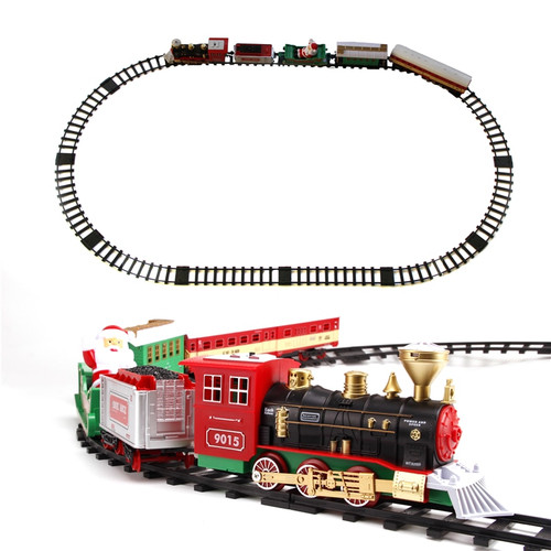 Classic Toys for children Electric Rail Car Railway Vehicles with Sound&Light Electric car with Railway for Christmas Decoration