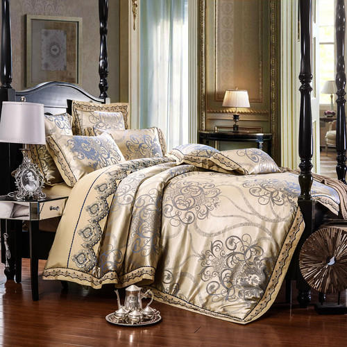 4/6Pcs Luxury Royal Bedding set Stain Jacquard Cotton Lace Double King Queen size Bedsheet set Duvet cover Fit sheet Pillowcases