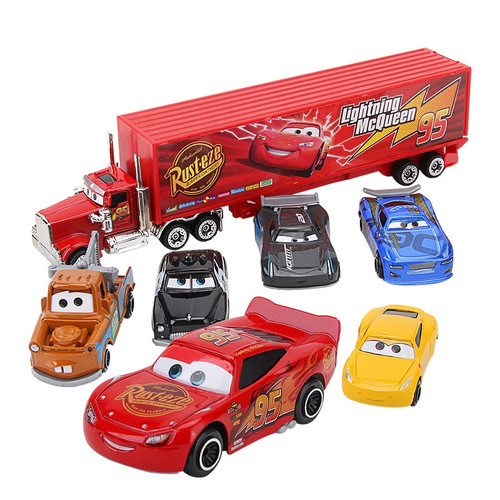 Disney Pixar Cars 3 7Pcs/set Lightning McQueen Jackson Storm Mack Uncle Truck 1:55 Diecast Metal Car Model Boy Toy Gift With Box