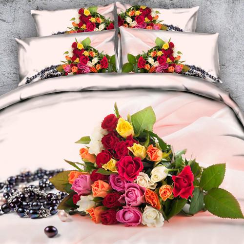 Royal Linen Source 3 PCS PER SET Rainbow Rose Explosion pretty luxury 3d bedding set