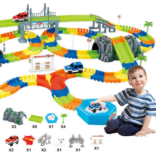 Over 240Pcs DIY Flexible Track Toys Railway Roller Coaster Electric Rail Car Racing Flex Track Toy Gift For Kids