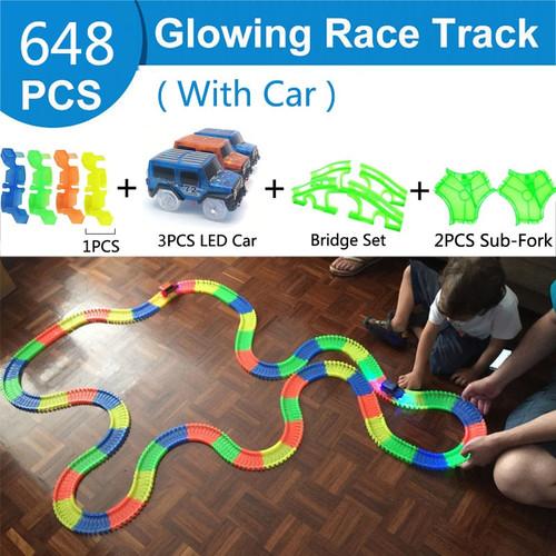 488Pcs Glowing Race Track Railway Magic Luminous Flexible Track Car Game Set Glow in Dark Electronic Light Car Racing DIY Toy