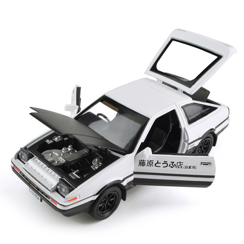 1:28 Toyota Trueno AE86 Alloy Diecast Car Model Pull Back Toy With Light Sound For Kid Toys Gifts Free Shipping Original Box