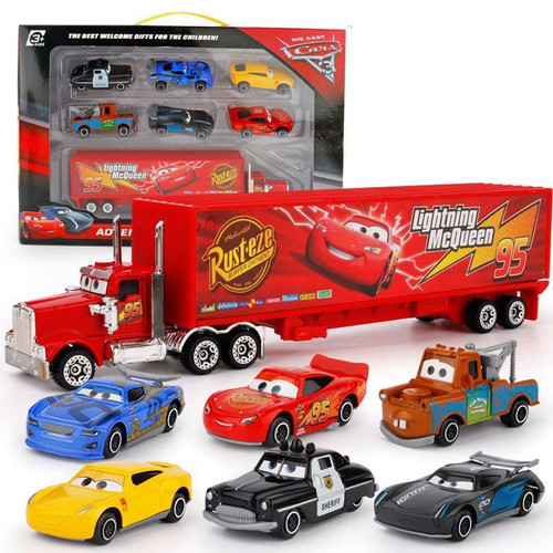 Disney Pixar Cars 3 7pcs/Lot Lightning Mcqueen Jackson Storm  Mack Uncle Truck 1:55 Diecast Metal Car  Gift For Kids With Box
