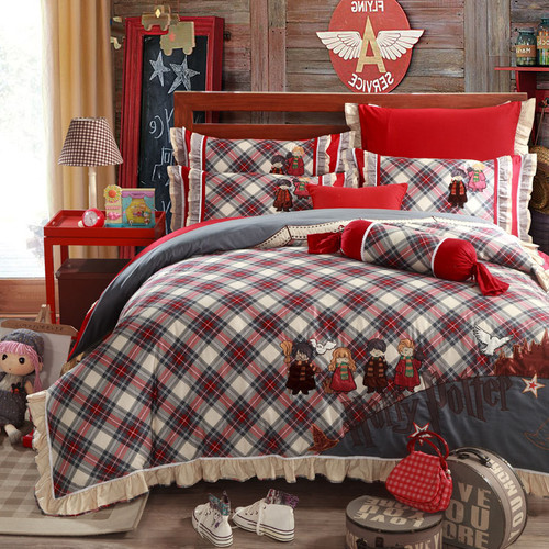 Harry Potter Plaid Kids Printed Embroidered England Style Egyptian Cotton Bedding Sets 5PCS QUEEN KING Size Bedlinen Bedspread